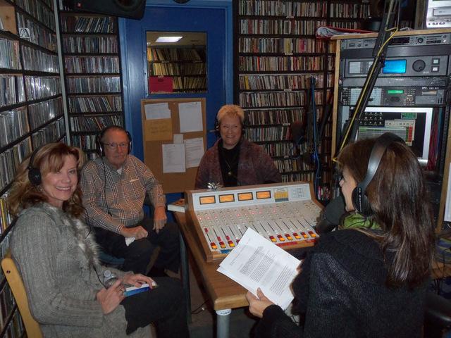 Sonia Marsh, Charlie Leister, Nancy Klann-Morel and our host, Barbara DeMarco-Barrett at KUCI-88.9FM