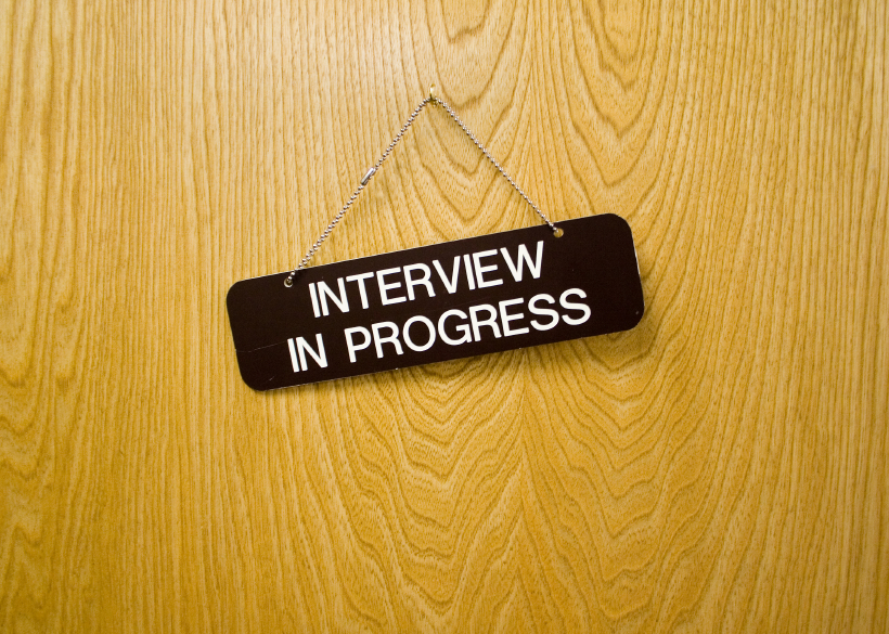 Interview in Progress Sign
