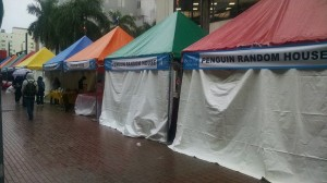 Booths in rain