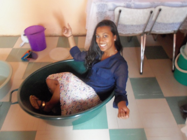 PCV, Michelle, showing us how to take a bath